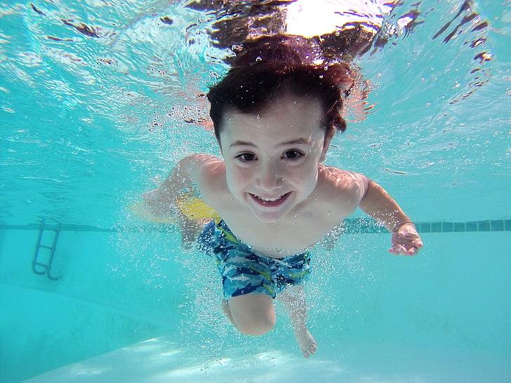 nen, nedar, piscina, sota l'aigua, piscina, Natació, nen
