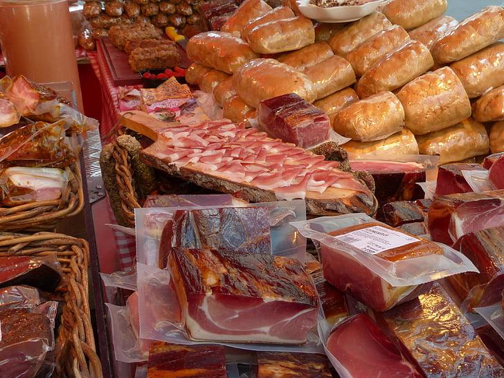 šunka, klobasa, prodajo, stojalo, meso, trg, meso trg