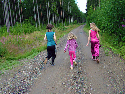 children, run, running, girls, dirt road, road, forest