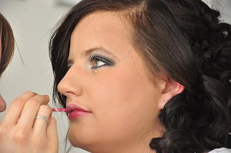 kosmetikk, skjønnhet, natur, ansikt, leppestift, beautician