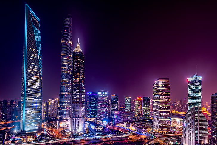 architecture, buildings, city, city lights, cityscape, downtown, night