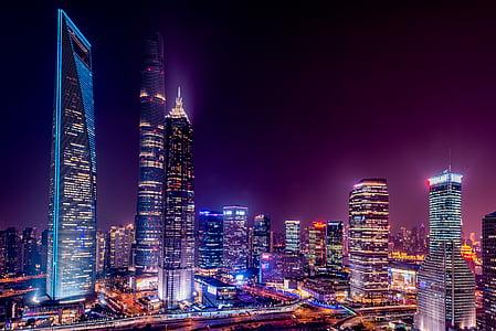 arquitectura, edificios, ciudad, luces de la ciudad, paisaje urbano, Centro de la ciudad, noche