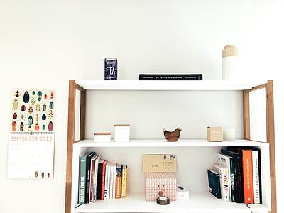 mobles, disseny d'interiors, minimalista, sala, prestatges, Gerro, prestatge
