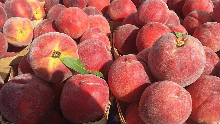 broskyňa, broskyne, ovocie, zdravé, letné, šťavnaté, zrelé