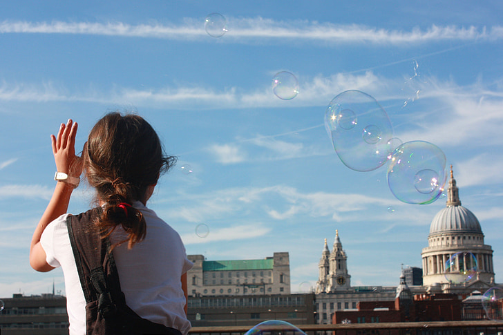 soap bubbles, london, little girl, game, sky, play