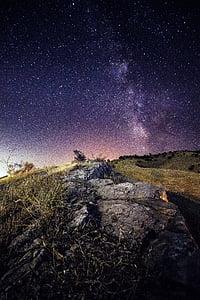 Milkyway, estrella, cel, espai, univers, galàxia, nit