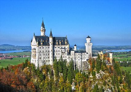 Neuschwanstein kastély, Castle, Kristin, Allgäu, tündér vár, Füssen, Bajorország