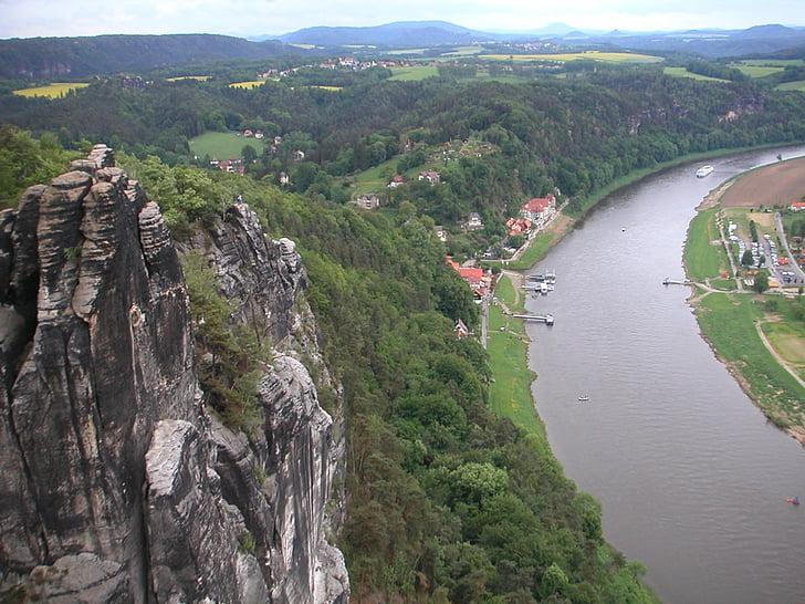 Elbe, elven, skipet, frakt, Panorama, Elbe sandstein fjellet, Rock