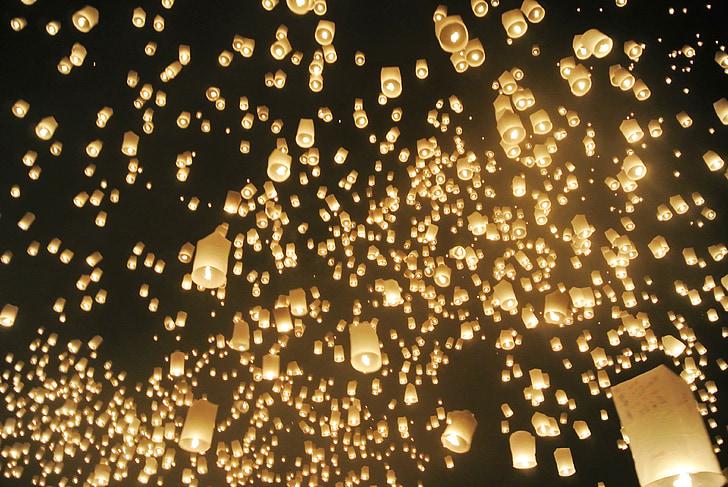 đèn lồng, ánh sáng, bầu trời, Lễ kỷ niệm, đêm, sáng sủa, chiếu sáng