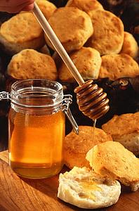 mel, galetes, galetes, pastissos, postres, beguda, aliments