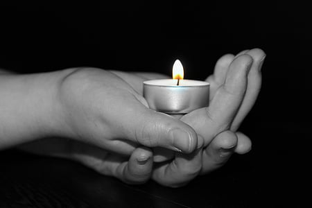 candle, tealight, light, children's hands, interlaid, flame, candlelight