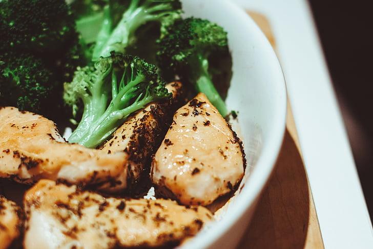 kurczaka, brokuły, kolacja, posiłek, obiad, zdrowe, jedzenie