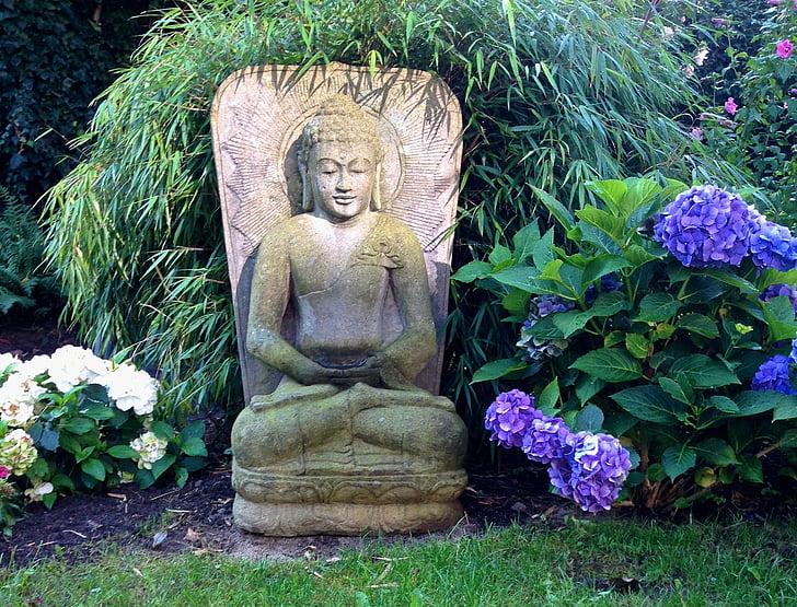 buddha, garden, sculpture, asia, spiritual, meditation, fernöstlich