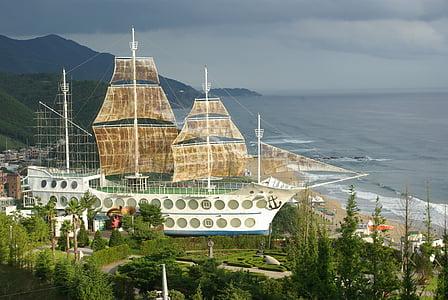 Jung dong-jin, jūra, burlaivis, Gangneung, Japonijos jūra, kraštovaizdžio, paplūdimys