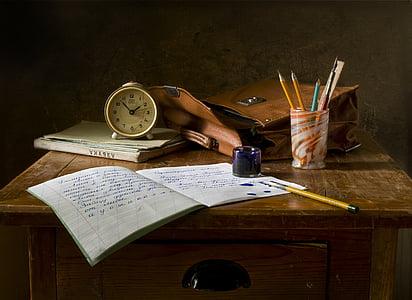 bodegons, l'escola, retro, tinta, informació turística, rellotge, taula