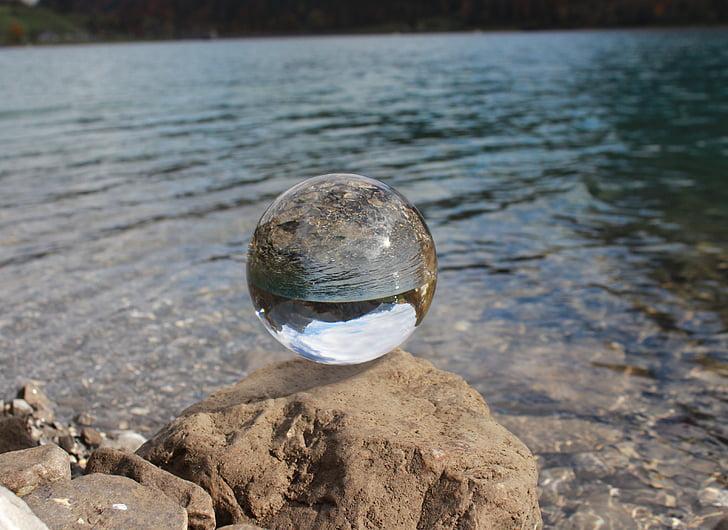 ball, light, mirroring, about, glass ball, transparent, reflection
