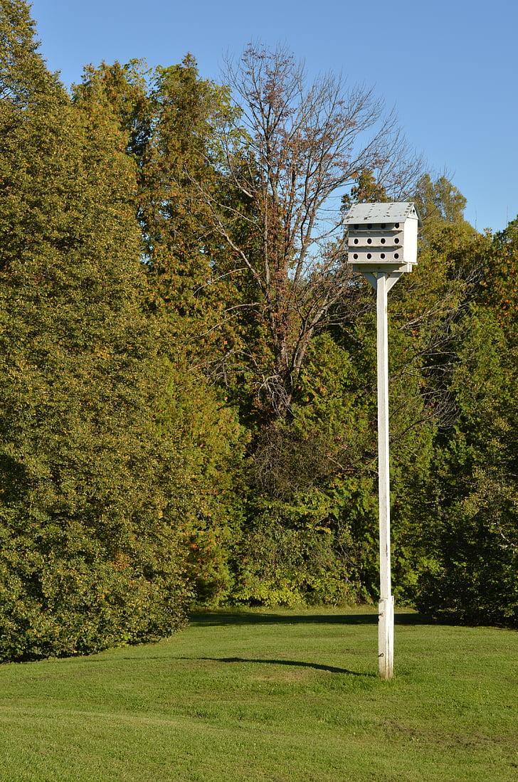 Bird house, pesä ruutuun, puinen, maalaismainen, Ornithology, Puutarha, käsintehty