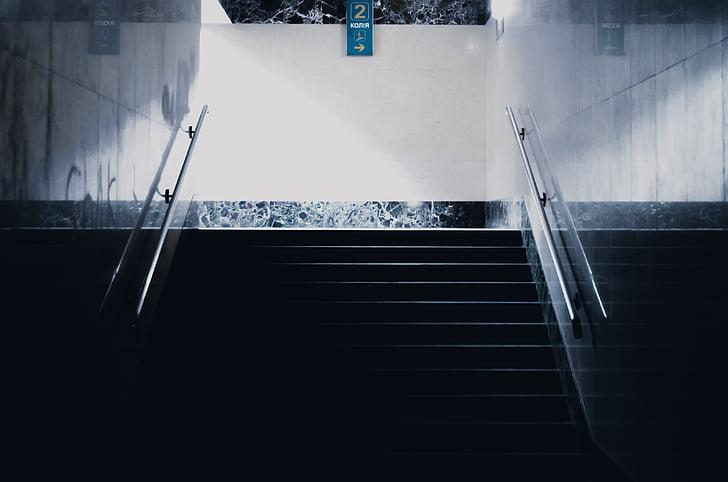 passadís, escales, baranes, escala, escala, passos, l'hivern