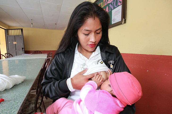 kojení, mladá matka, Bebe, mladý, lidé, ženy
