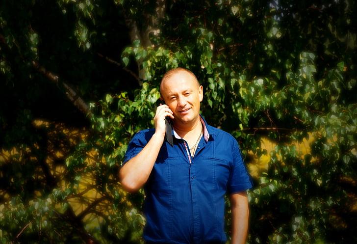 Príroda, muž, Zelení, telefón, volanie, hovoriť