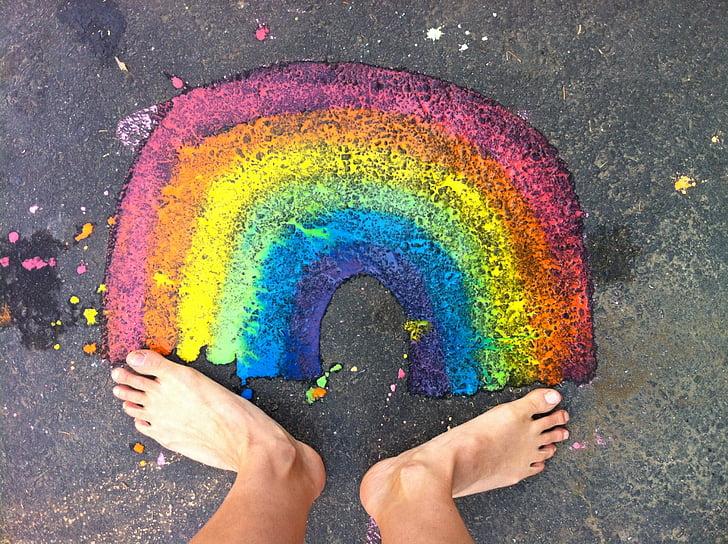 เรนโบว์, ฟุต, มีความสุข, ความสุข, เท้า, มีสีสัน, สดใส