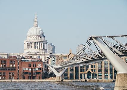 bridge, building, city, cityscape, river, urban, water