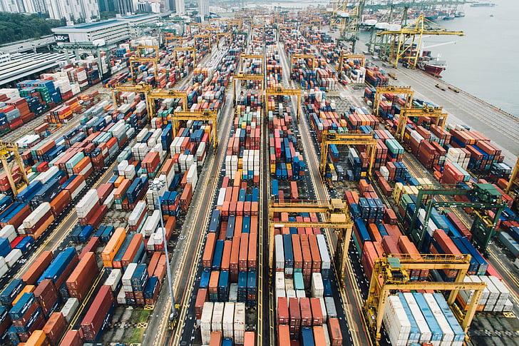 集装箱, 范, 出口, 旅行, 货物, 码头, 块