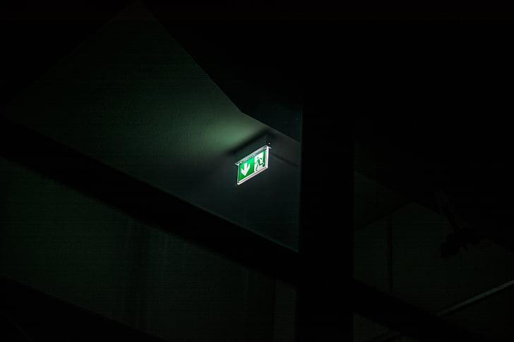 çıkış, işareti, Acil durum, Acil çıkış, Yeşil, karanlık, gece