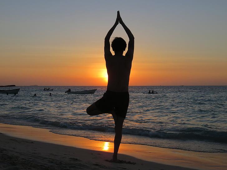 Yoga, stranden, solnedgång, koppla av, Meditation, havet, kvinnor