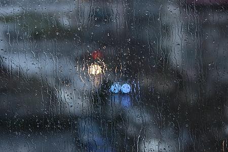 pluja, finestra, bokeh, vidre, fosc, gota d'aigua, temps