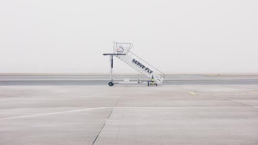 hình ảnh, màu xám, phục vụ, bay, máy bay, cầu thang, Sân bay