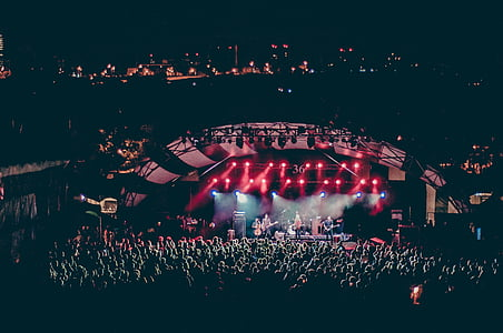 stage, performing, artist, red, lights, concert, audience