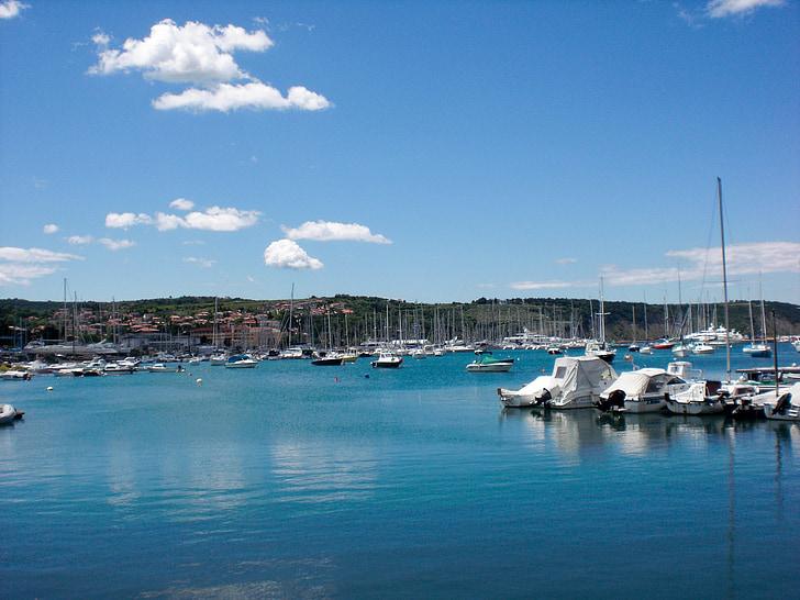 sea, port, ships, boats, water, holiday, swimming slovenia