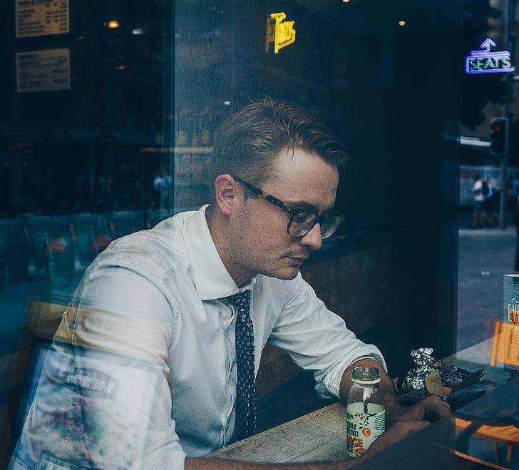 xicot, home, moda, ulleres, sol, vidre, reflexió