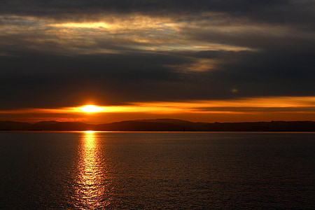 Sunset, Oslofjord, Oslo, rejse, Norge, belysning, Skandinavien