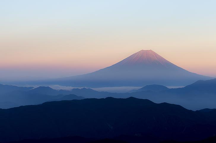 MT fuji, Japan, Visa från kitadake fuji, röd fuji, persika fuji, tidigt på morgonen, soluppgång