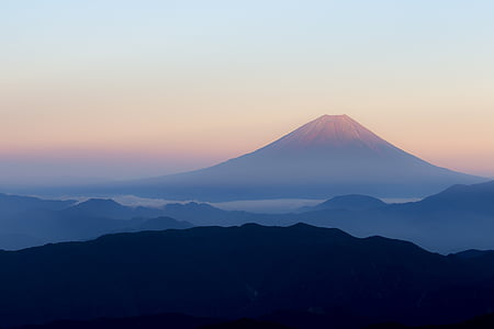 mt fuji, japan, view from kitadake fuji, red fuji, peach fuji, early morning, sunrise