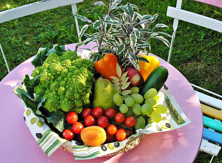 Fruitmand, Tuin, groenten, Groentemarkt, gezonde, voeding, voedsel