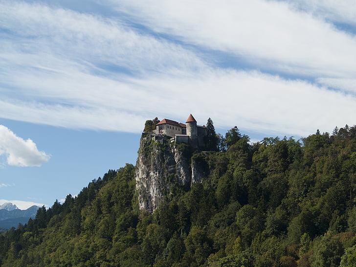 bled, castle, slovenia, europe, european, hill, landmark