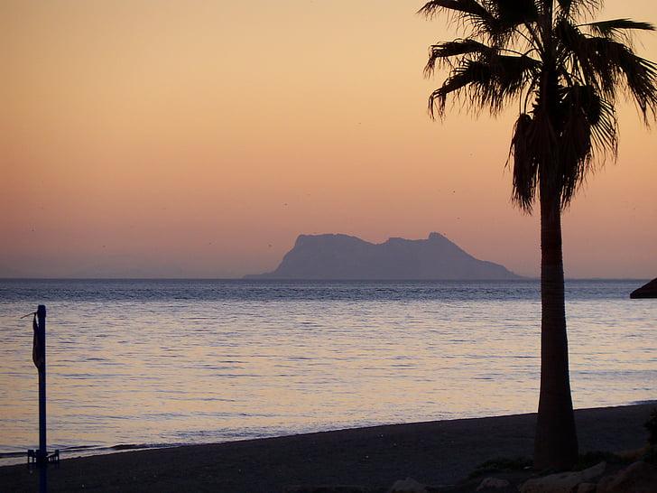 Gibraltar, sončni zahod, Beach, Španija, sredozemski, Evropi, morje