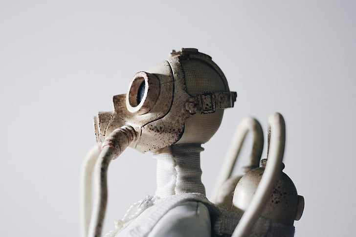 estàtua, màscara de gas, respirador, apocalíptic, escultura, obres d'art, moderna