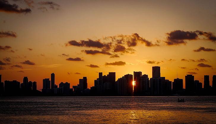 Cloudscape, posta de sol, nit, Miami, silueta, cel de posta de sol, núvol