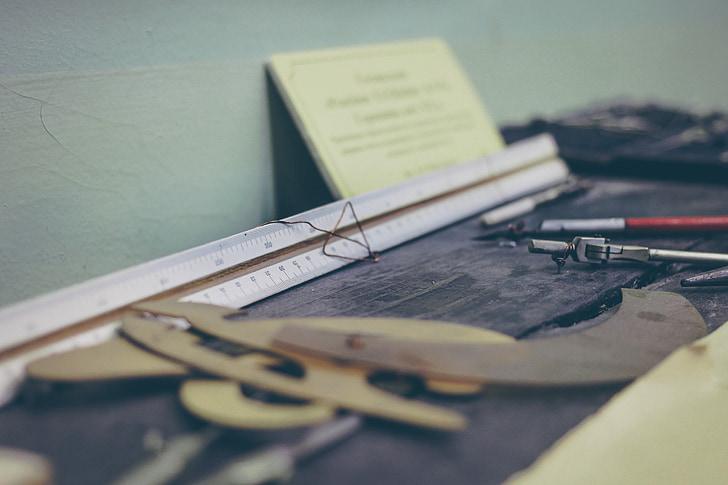 mērjoslu, kompass, rīki, darba, rakstāmgalds, iekārtas, darba rīku