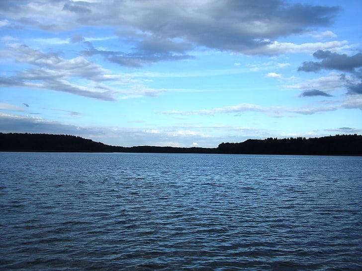 jezero, oblaci, abendstimmung