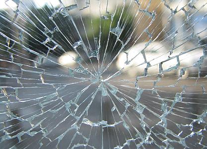 ガラス, ウィンドウ, 壊れた, ひびの入った, 粉々 になった, 強化, 事故