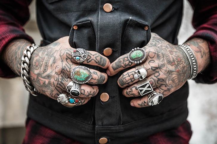 mans, tatuatges, anells, accessoris, dibuix, disseny, ètnica