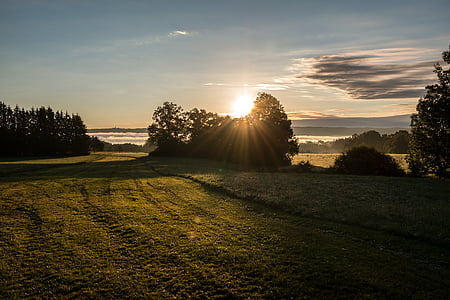 Alba, boira, núvols, sol, Ammersee, Baviera, Alemanya
