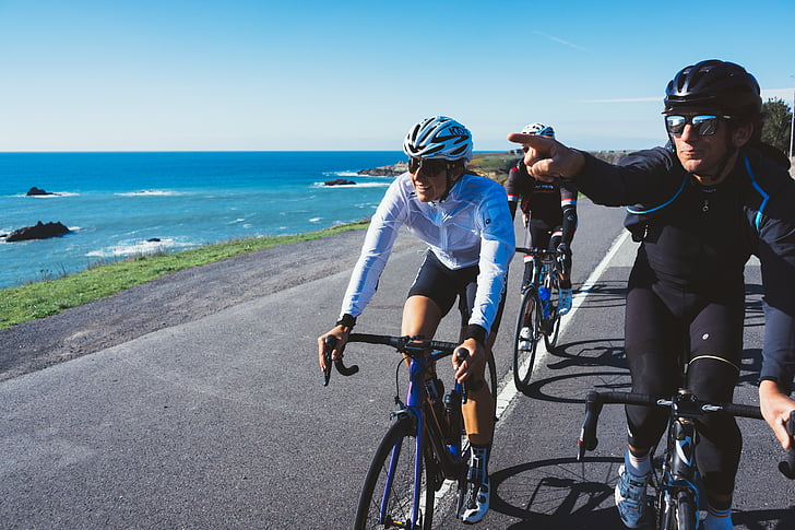 three, people, riding, road, bike, man, white