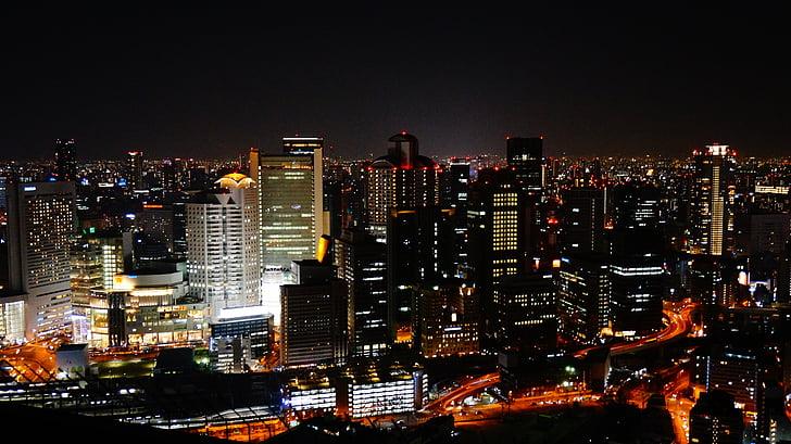 vue de nuit, Osaka, Japon, bâtiment de ciel, la vue de la nuit d'osaka, bâtiment, atmosphère