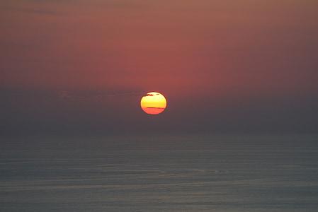 Ήλιος, ηλιοβασίλεμα, στη θάλασσα, abendstimmung, ουρανός, Ήλιος και θάλασσα, μεταλαμπή